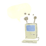 Cartoon old computer with speech bubble Stock Photography