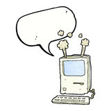 Cartoon old computer with speech bubble Royalty Free Stock Photo