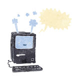 Cartoon old computer with speech bubble Royalty Free Stock Images