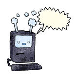 Cartoon old computer with speech bubble Royalty Free Stock Photos