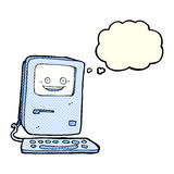 Cartoon old computer with thought bubble Royalty Free Stock Image