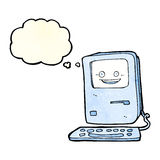 Cartoon old computer with thought bubble Stock Image