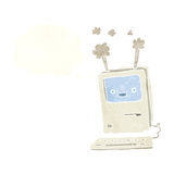 Cartoon old computer with thought bubble Royalty Free Stock Photos