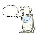 Cartoon old computer with thought bubble Royalty Free Stock Photo