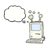 Cartoon old computer with thought bubble Royalty Free Stock Images