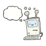 Cartoon old computer with thought bubble Stock Images