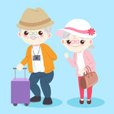 Cartoon old couple. On the blue background Stock Image
