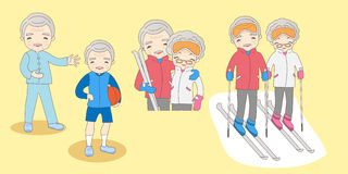 Cartoon old couple do exercise Royalty Free Stock Images