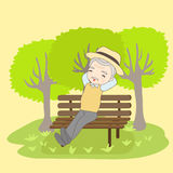 Cartoon old couple holdng crutch Stock Photo