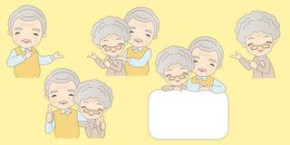 Cartoon old couple show something Stock Images