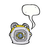 Cartoon old deep sea diver helmet with speech bubble Stock Photo