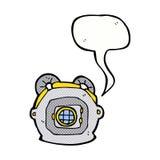 Cartoon old deep sea diver helmet with speech bubble Stock Photo