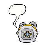 Cartoon old deep sea diver helmet with speech bubble Royalty Free Stock Photos
