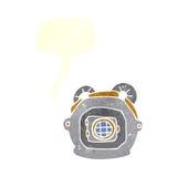Cartoon old deep sea diver helmet with speech bubble Royalty Free Stock Photos