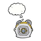 Cartoon old deep sea diver helmet with thought bubble Stock Photography