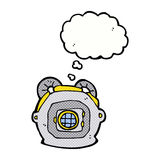 cartoon old deep sea diver helmet with thought bubble Royalty Free Stock Photo