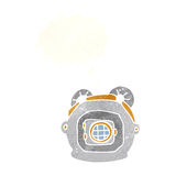 cartoon old deep sea diver helmet with thought bubble Royalty Free Stock Photography