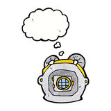 cartoon old deep sea diver helmet with thought bubble Stock Photos