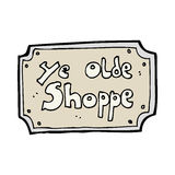 cartoon old fake shop sign Royalty Free Stock Image