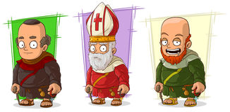Cartoon old funny monk and priest characters vector set Royalty Free Stock Photo