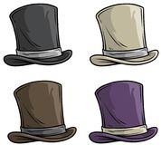 Cartoon old gentleman top hat vector icon set. Cartoon old gentleman retro top hat with ribbon. Vector icon set stock illustration