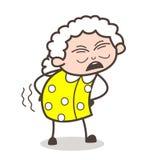 Cartoon Old Grandma Getting Ache in Waist Vector Illustration. Cartoon Old Grandma Getting Ache in Waist Vector design Royalty Free Stock Photos