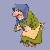 Cartoon old grandmother in a headscarf holding fists Royalty Free Stock Photos