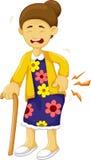 Cartoon old grandmother was lumbago Royalty Free Stock Images