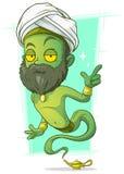 Cartoon old green jinn with beard Stock Photos