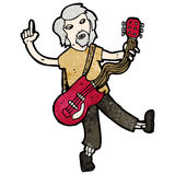 Cartoon old guitar player Stock Images