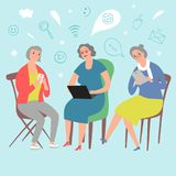 Cartoon old ladies using computers and gadgets. Modern technologies  illustration for your design Royalty Free Stock Images