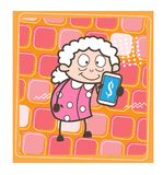 Cartoon Old Lady Showing Extra Income Tips Vector Illustration Royalty Free Stock Images
