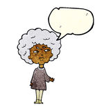 Cartoon old lady with speech bubble Royalty Free Stock Photo