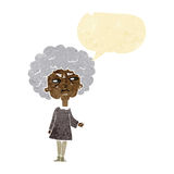Cartoon old lady with speech bubble Stock Photos