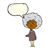 Cartoon old lady with speech bubble Royalty Free Stock Photos