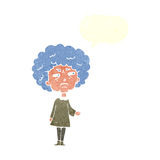 Cartoon old lady with speech bubble Stock Images