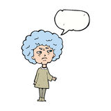 Cartoon old lady with speech bubble Royalty Free Stock Image