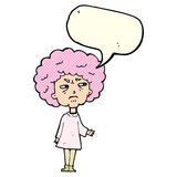 Cartoon old lady with speech bubble Stock Photography