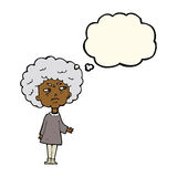 Cartoon old lady with thought bubble Stock Photo