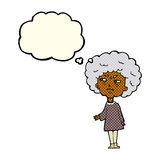 Cartoon old lady with thought bubble Royalty Free Stock Photo
