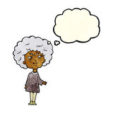 Cartoon old lady with thought bubble Stock Photography