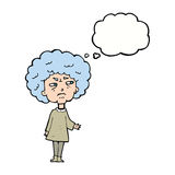 Cartoon old lady with thought bubble Stock Images