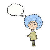 Cartoon old lady with thought bubble Stock Image