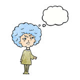 Cartoon old lady with thought bubble Royalty Free Stock Images