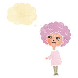 Cartoon old lady with thought bubble Royalty Free Stock Photography
