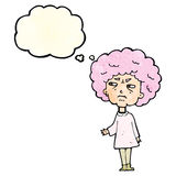 Cartoon old lady with thought bubble Royalty Free Stock Photos