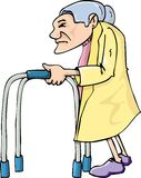 Cartoon old lady using awalking frame Royalty Free Stock Image