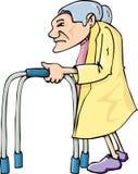 Cartoon old lady using awalking frame Royalty Free Stock Image