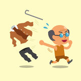 Cartoon old man changing clothes to sportswear Stock Photos