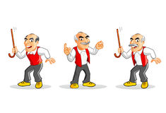 Cartoon old man character. Old man or grandpa characters set. Hand drawn vector illustration Royalty Free Stock Image